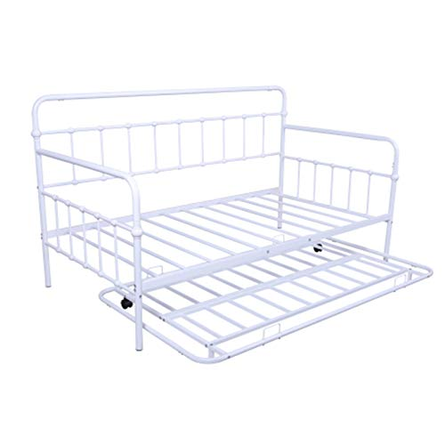 Taghua Twin Daybed and Trundle Frame Set, Twin Size Sofa Bed Frame Metal Slat Support, Mattress Platform Bed Sofa for Living Room, Guest Room, Children Room