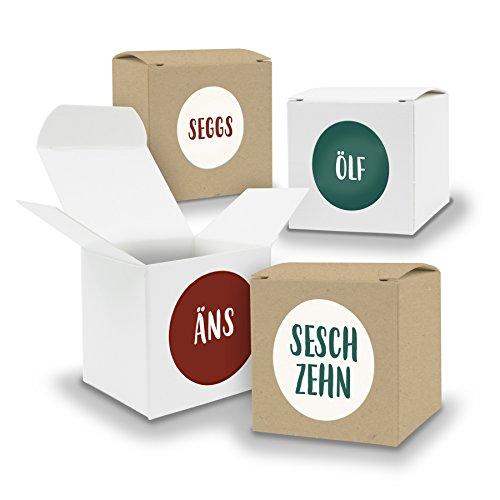 DIY itenga Adventskalender Set V06 zum Selberbefüllen 24x Würfel 6,5cm gemischt WEISS und BRAUN + ZahlenSticker (Motiv Z27 Saarländisch)