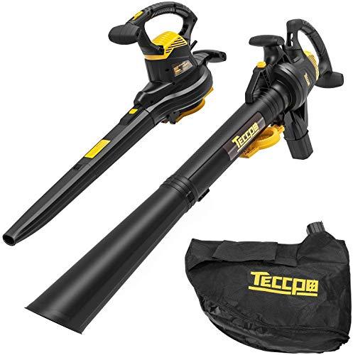 3000W TECCPO Soffiatore/Aspiratore/Tritturatore, Soffiatore per Foglie, 210-350km/h, 13 m³/min, 11000/14000 RPM, 40L Sacchetto- TABV01G