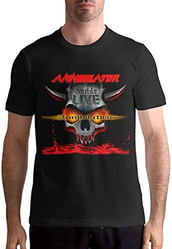 Annihilator Men Round Neck T-Shirt Cotton Classic Tee Tops Black,Black,Medium