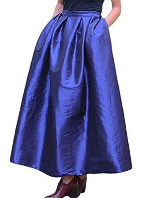 PERSUN Women's High Waist A Line Pleated Swing Long Party Skirt