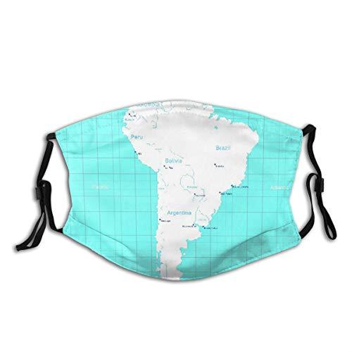 KIMDFACE Gesichtsbedeckung,Columbia Isometric Südamerika Karte Paraguay Quito,Sturmhaube Unisex Wiederverwendbar Winddicht Staubschutz Mund Bandanas Outdoor Camping Motorrad Running Mit 2 Filtern