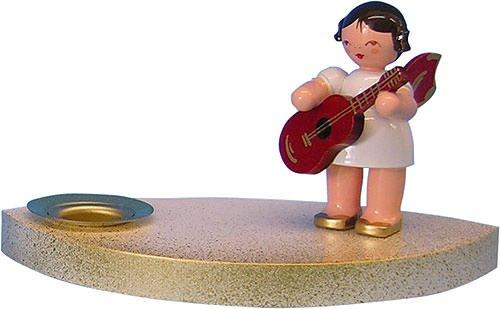 Kerzenhalter Engel mit Gitarre, rote Flügel