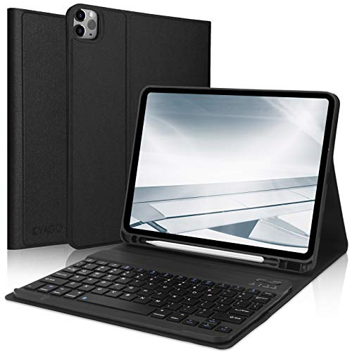 KVAGO Keyboard Case for iPad 2020 (8th Gen), iPad 2019 (7th Gen), Keyboard Case with Built-in Pen Holder, Bluetooth Detachable Keyboard UK Layout QWERTY for iPad 8th Gen 10.2 Inch -Black