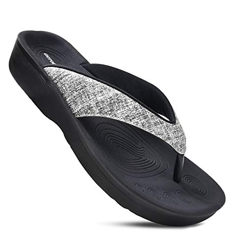 AEROTHOTIC Women's Comfortable Orthotic Flip-Flops Sandal (US Women 9, Mellow Black)