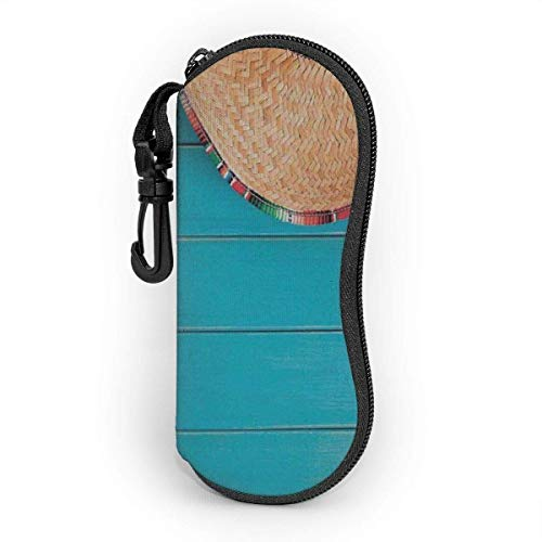 Funda de Gafas Sombrero Latino Maracas Sobre Madera Azul Crema Ultra Ligero Neopreno Suaves viaje Estuche para Gafas de caso Bolsa con Clip de Cinturón