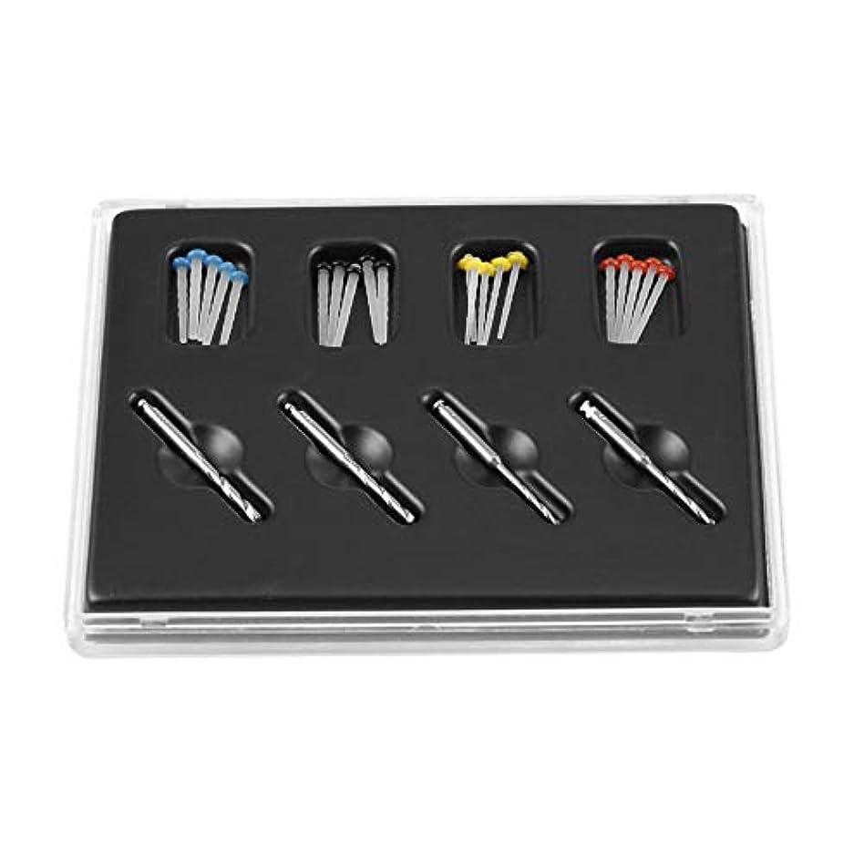 電圧神の記録歯のケアプロフェッショナル高輝度素材ガラス繊維樹脂ポスト付き4ドリルねじスレッドクォーツセット歯科口腔歯 - シルバー