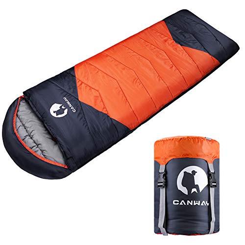 CANWAY Schlafsack Schlafsäcke Mumienschlafsack aus Baumwolle als Füllstoff wasserabweisend für Camping Indoor Outdoor Erwachsene im Winter 1,9KG (Orange-Polyester)