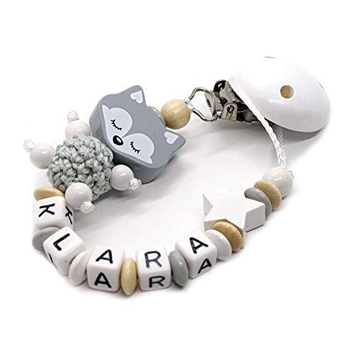 Schnullerkette mit Namen für Junge & Mädchen | VIELE INDIVIDUELLE MODELLE | Personalisierte Nuckelkette mit Wunschnamen (Fuchs schlafend-grau-natur-stern)