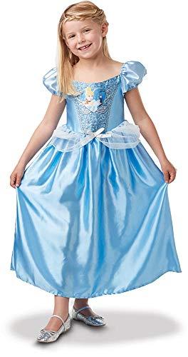 Princesas Disney - Disfraz de Cenicienta con lentejuelas para niña, infantil 5-6 años (Rubie