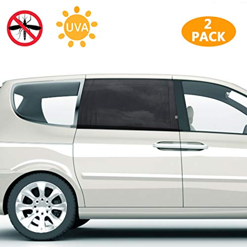 PEYOU 2021 Car Window Shade, Car Sun Shades for Kids, Baby, Women, Pets, Mesh Car Rear Side Window Shade Universal Fit Most(95%) of Cars-Block 99% UV Rays-Travel E-Book-2 Pack Tints