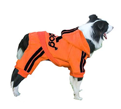 Izefia Ropa para Perro Sudaderas con Capucha para Perro Suéter Cálido de Lana 4 Patas Mono Camisa de Algodón para Perro Pequeños Perro Grande (Naranja, 9XL)