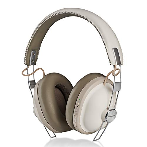 Panasonic Retro Noise Cancelling Bluetooth Wireless Headphone with Voice Assist, Microphone, Deep Bass Enhancer, 24 Hours Playback -RP-HTX90N-W (Vanilla White)
