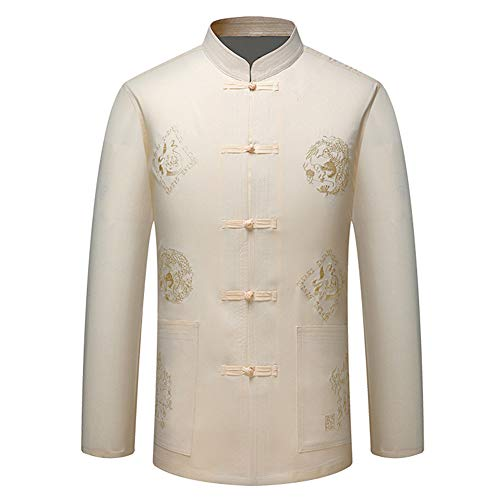 Zhuhaixmy Herren Chinesisch Kleidung Tang Anzug - Traditionell China Uralt Kostüm Kampfkunst Kung Fu Langarm Jacke Anzüge Hemd (Beige, 40)