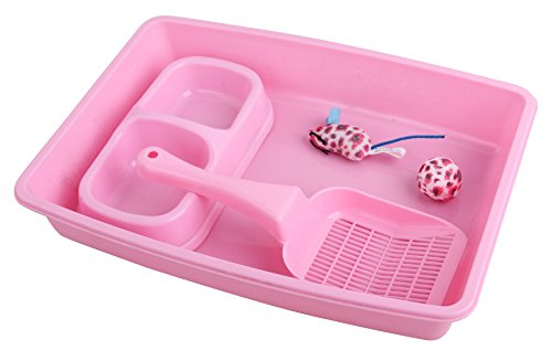 PAWISE Kitty Cat Starter Kit Includes 4-Pieces - Cat Litter Pan, Cat Litter Scooper, Cat Bowls, Cat Toy, 14.5x10.5 Inches, Pink