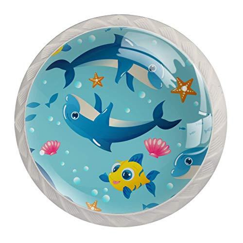 Redondo Blanco pomos Estrella de mar azul delfín para muebles de habitación infantil, para habitación infantil, armarios, cajones, baúles (4pcs) 35mm