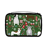 Neceser transparente para mujer, bolsa de viaje con gancho para colgar accesorios de artículos de tocador (Pitbull Perros lindos perros de Navidad)