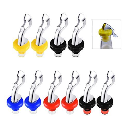 XLKJ 10 pezzi Tappo per Bottiglia di Vino,Tappo di Vino in Silicone Manuale Riutilizzabile per Forniture di Bevande e Vino