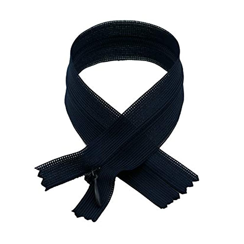 Invisible Zipper with Tear Drop Slider Lace Tape, 60cm (23.62inches) x 12pc/Bag, Navy Blue