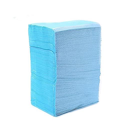 125pcs Disposable Waterproof Medical Paper Dental Hygiene Bib Neckerchief Wood Pulp Paper Dental Clean Pad Sheets (Color : Blue)