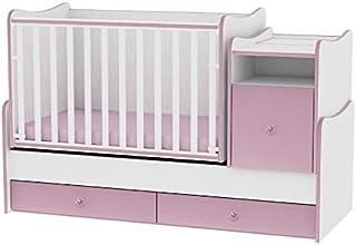 Lit bébé évolutif/ combiné Trend Plus blanc/rose Lorelli (Le lit se transforme en : lit d'adolescent, bureau, armoire mult...