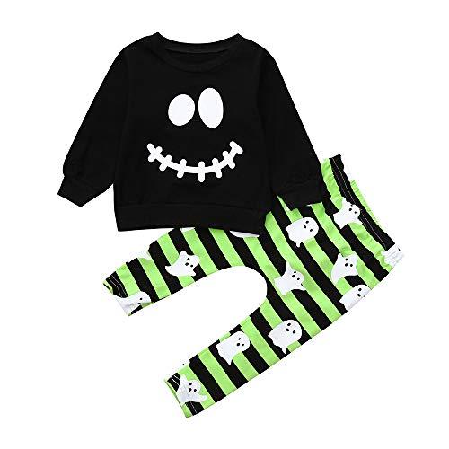 iYmitz iYmitz Kleinkind Baby Jungen Mädchen Cartoon Geist Tops Pullover Hosen Halloween Outfits Set(schwarz,110cm)