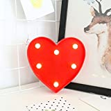 YANROO Light Up LED Letter Marquee Heart Sign Alphabet Letters with Lights for Christmas Wedding Birthday Home Party Battery Powered Night Light Wall Decor (Red Heart)