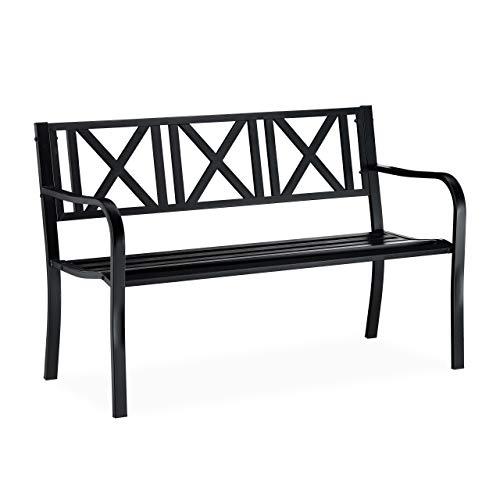 Relaxdays, Nero Panca da Giardino in Metallo, 2 Posti, Resistente, Panchina da Balcone HxLxP 81 x 127 x 56 cm