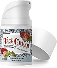 LilyAna Naturals Face Moisturizer - Made in USA, Face Cream for Women AND Men, Anti-Aging Wrinkle Cream for Face, Helps With Dry Skin and Dark Spot Brightening, Rose and Pomegranate Extracts - 1.7oz