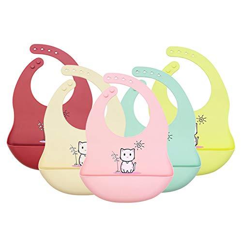 babero bebe,cojín antivuelco bebe,regalos,alimentación,bibs,bandanas bebe,5pcs gatito babero del bebé ajustable animal impermeable saliva que gotea bebé alimentación baberos toalla suave saliva