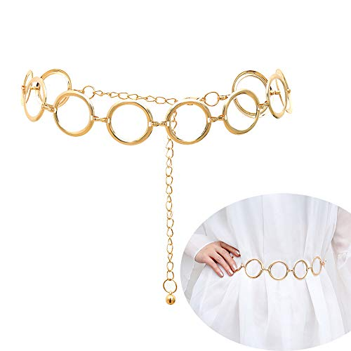 Jurxy Alloy Waist Chain Body Chain for Women Waist Belt Belly Chain Adjustable Body Harness for Jeans Dresses – Gold Ring Buckle Style 6
