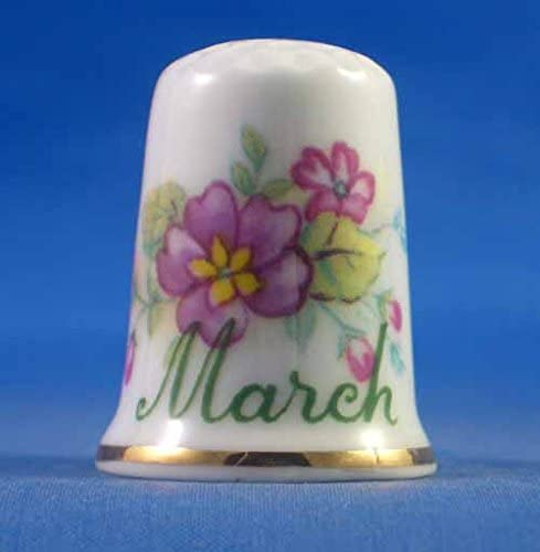 Porcelain China Thimble - Flower of The Month - March
