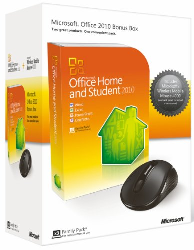 Microsoft Office Home and Student 2010 (3 Users) and Microsoft Wireless Mobile Mouse 4000 Bundle [import anglais]
