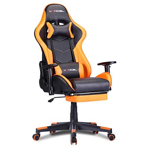EVANCEL Gaming Stuhl Racing Computer Schreibtischstuhl Ergonomisches Design mit Breiten Rückenkissen, ausziehbahre Fußlehne in Taillenbereich einfach mit den PC verknüpfen (Orange)