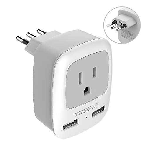 Italy Travel Power Adapter, TESSAN 3 Prong Grounded Plug with Dual USB...