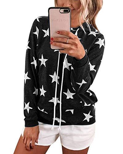 YOINS Sudadera Mujer con Capucha Suéter de Manga Larga Casual Tops con Estampado de Estrellas con Bolsillo Negro XL