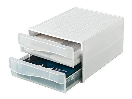 引き出し収納ボックス 書類ケース A4レターケース デスクトレー ファイルケース 2段式 縦型 プラスチック 白 ホワイト 透明 滑り止め 大容量 おしゃれ 小物収納 積み重ね 頑丈 完成品 (透明)