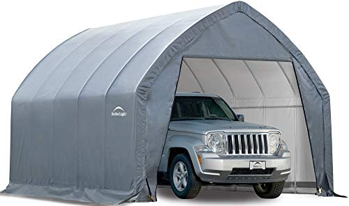 ShelterLogic 11' x 20' x 9'6' Garage-in-a-Box All Season Steel Metal Peak Style Roof Portable Outdoor Garage for Crossover Small Trucks and Large Sedans, Grey