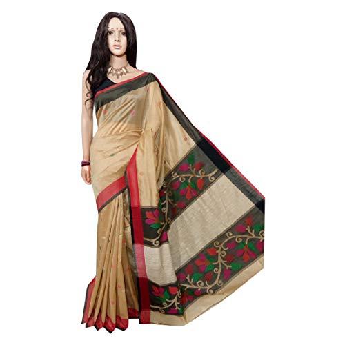 ETHNISCHE EMPORIUM vrouwen Matka Handloom Saree Resham Pallu Saree Muslin Jamdani Werk Sari Blouse Handgemaakte Thread Indian 154A 6.25 mtrs Zoals getoond