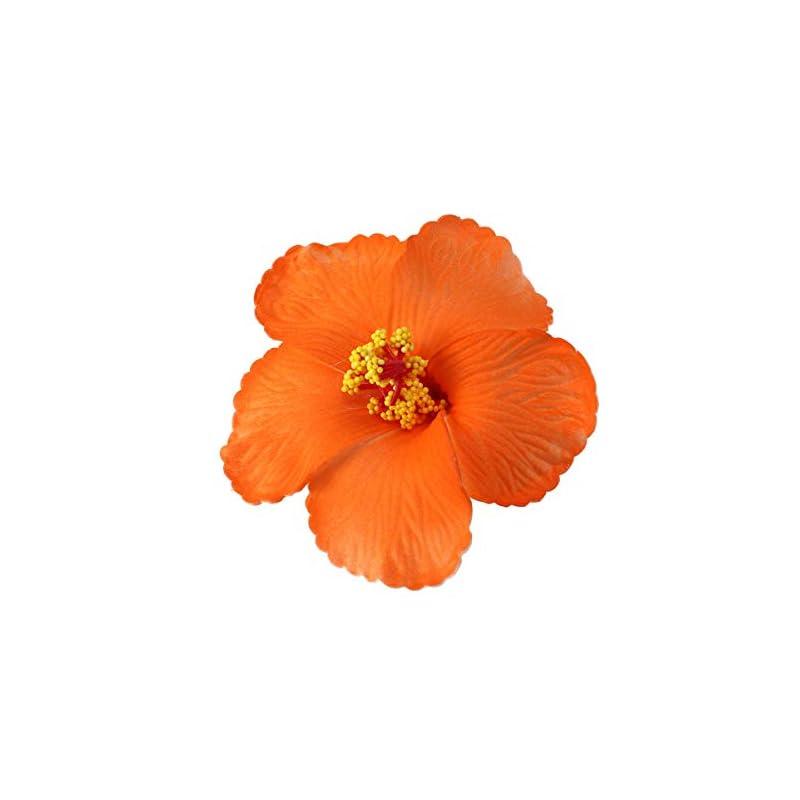 silk flower arrangements toyvian artificial flowers heads hibiscus hawaiian flowers for craft diy art project scrapbooking tabletop decoration tropical luau party favors supplies orange