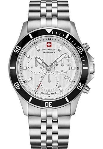 swiss military hanowa Unisex Erwachsene Analog Quarz Uhr mit Edelstahl Armband 06-5331.04.001