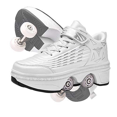 RDJSHOP Patines de Ruedas para Mujer, Patines de Cuatro Ruedas para Niñas/Niños, Calzado Técnico para Correr en Monopatín, Doble Fila Ajustable Zapatos de Deformación,White-9.5