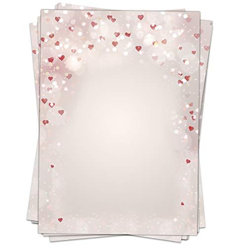50 Blatt Briefpapier (A4) | Herzen Herzchen Liebe | Motivpapier | edles Design Papier | beidseitig bedruckt | Bastelpapier | 90 g/m²