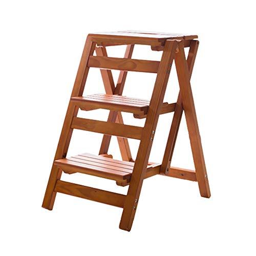 ZDY Trittleiter-Hocker Faltbarer Massivholz-Tritthocker Indoor Moving Ascending Ladder Doppelt Verwendbarer 3-Stufen-Hocker Kletterstuhl 4 Farben Klappbarer hoher Hocker (Color : A)