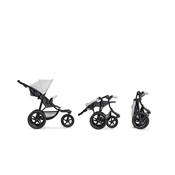 Hauck Runner, Jogger Style, 3-Wheeler, Pushchair with Extra Large Air Wheels, Foldable Buggy, For Children from Birth to 25kg, Lying Position - Silver Grey Hauck LONG USE - This 3-wheel pushchair is suitable from birth (in lying position or in combination with the 2in1 Carrycot) and can be loaded up to 25kg (seat unit 22 kg + basket 3 kg) ALL-TERRAIN - Thanks to the big air wheels - back 39cm diameter, front 30 diameter – as well to the swiveling and lockable front wheel, this jogger style pushchair can be used on almost any terrain COMFORTABLE - Thanks to adjustable backrest and footrest, sun canopy, large shopping basket, and height-adjustable push handle 4