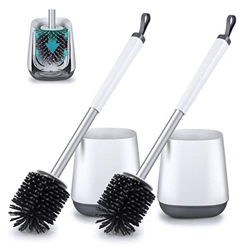 2 Pack Toilet Bowl Cleaning Brush and Holder Set for Bathroom Storage and Organization,POPTEN Deep-Cleaning Toilet Bowl Cleaner Brush with Anti-Rust Handle & TPR Soft Bristle,Floor Standing White