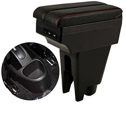 XIANGSHAN Car Apoyabrazos Caja para Peugeot 107 con Carga USB Intensificar Doble Capa (Color Name : C Style Grey)