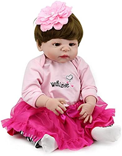 CHENGXX Wiedergeborenes Baby Kinderspielhausspielzeug Simulationspuppe Vorzügliches Geschenk des mädchens Alles Silikonbaby Badspielzeug 21 Zoll 5cm