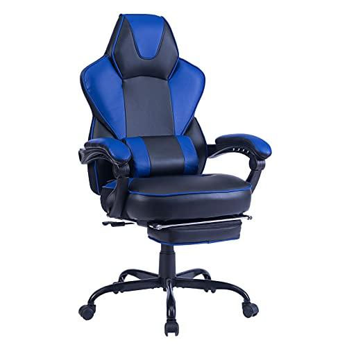 Healgen Gaming Stuhl Bürostuhl mit Fußstütze,Videospielstuhl ergonomisch Computer Gaming Stuhl mit Massage Lendenkissen Racing Stuhl Verstellbarer drehbarer PU Leder,8297 Blau