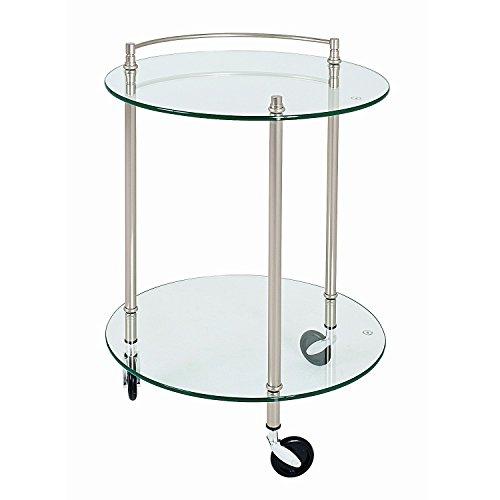 Haku Möbel 85867 Table pour Desserte Tube d'Acier/Verre Trempé Optique Inox